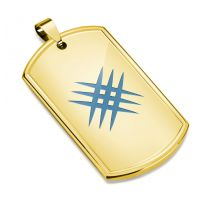 Pendentif plaque militaire dorée griffes croisées