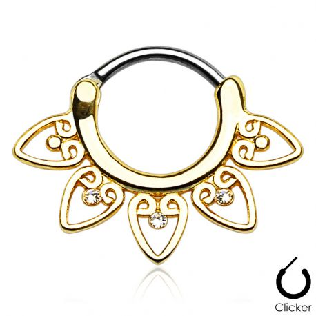 Piercing septum tribal doré