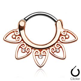 Piercing septum tribal or rose