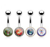 Piercing nombril logo militaire