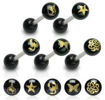 Piercing langue acrylique symbole
