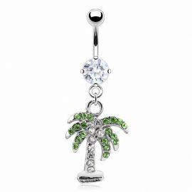 Piercing nombril palmier blanc