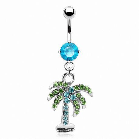 Piercing nombril palmier turquoise