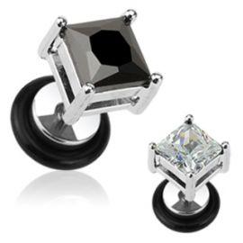 Piercing faux plug gemme carré