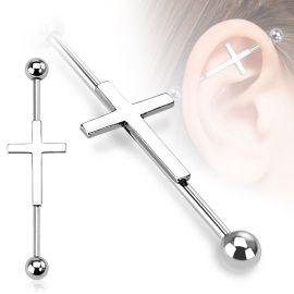 Piercing industriel croix argentée