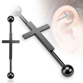 Piercing industriel croix noire