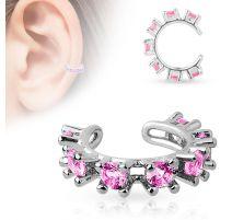 Faux piercing oreille manchette strass rose