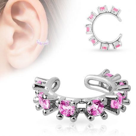 Faux piercing oreille manchette strass rose