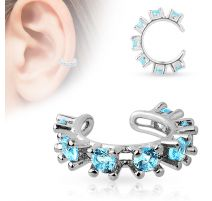 Faux piercing oreille manchette strass turquoise