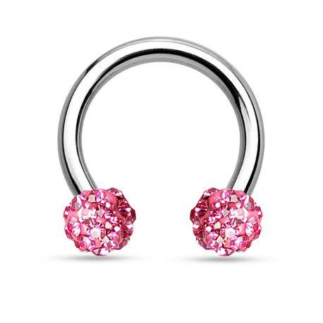 Piercing fer à cheval crystal rose