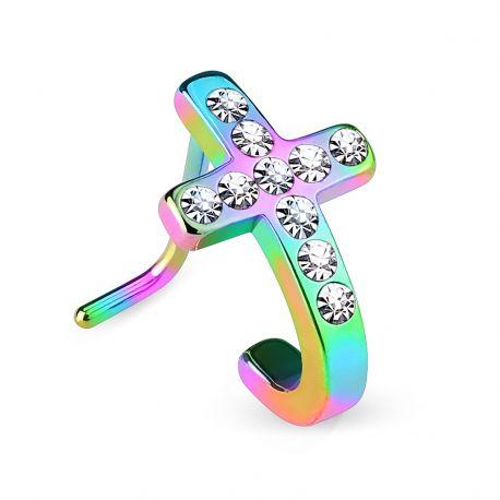 Piercing nez tige en L croix pavée multicolore