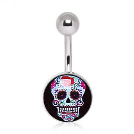 Piercing nombril sugar skull