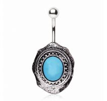 Piercing nombril broche turquoise