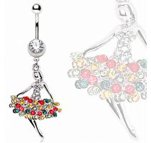 Piercing nombril ballerine strass