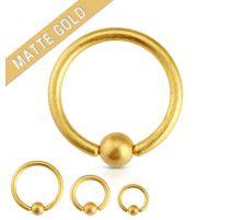 Piercing anneau captif doré mat