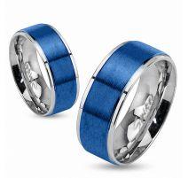 Bague en acier bleu brossé