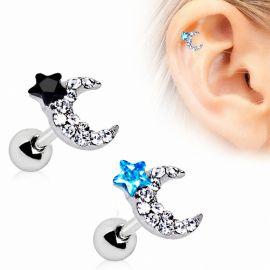 Piercing cartilage lune et étoile