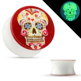 Piercing plug phosphorescent sugar skull