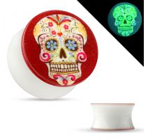 Piercing plug oreille phosphorescent sugar skull