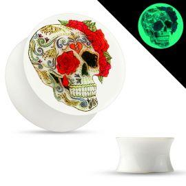 Piercing plug phosphorescent sugar skull roses