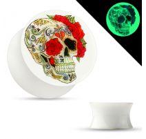 Piercing plug oreille phosphorescent sugar skull roses
