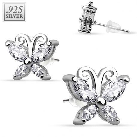 Paire boucles d'oreille argent papillon