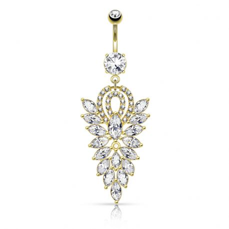 Piercing nombril pendentif chandelier plaqué or