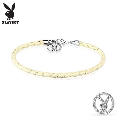 Bracelet Playboy similicuir blanc