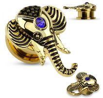 Piercing tunnel oreille tête d'éléphant plaqué or