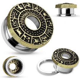 Piercing tunnel oreille signes du zodiaque doré