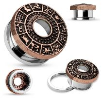 Piercing tunnel oreille signes du zodiaque bronze