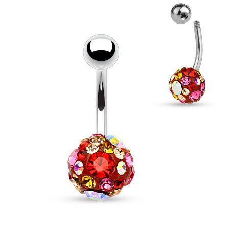 Piercing nombril cristaux rose et rouge