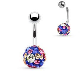 Piercing nombril cristaux bleu et rose