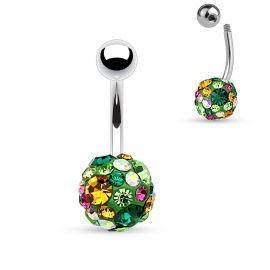 Piercing nombril cristaux vert et topaze
