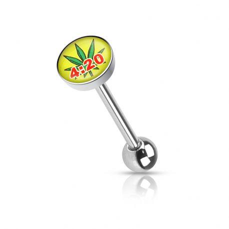 Piercing langue feuille de cannabis jamaique