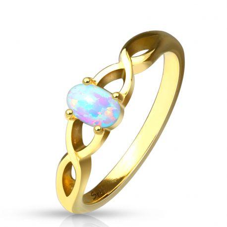 Bague acier doré opale ovale