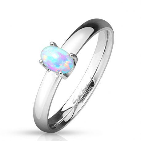 Bague femme acier opale ovale