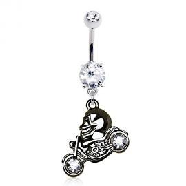 Piercing nombril skull moto