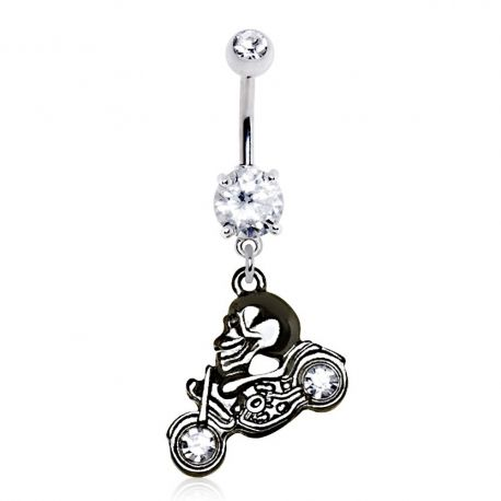 Piercing nombril skull moto