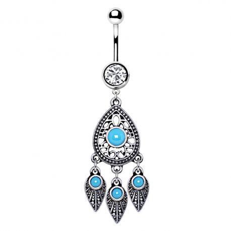 Piercing nombril larme et plumes turquoise