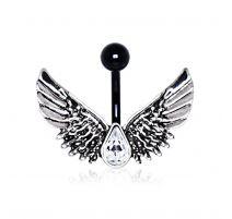 Piercing nombril noir ailes d'ange