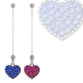 Piercing nombril de grossesse coeur de crystal