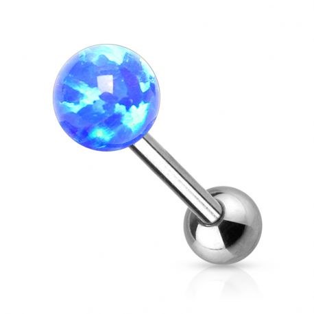 Piercing langue opale synthétique bleu