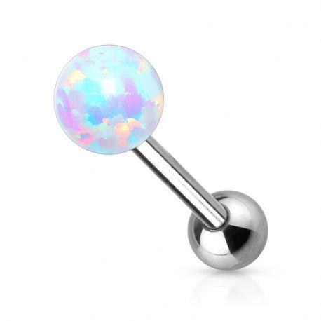 Piercing langue opale synthétique blanc