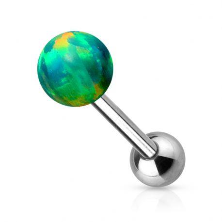 Piercing langue opale synthétique vert