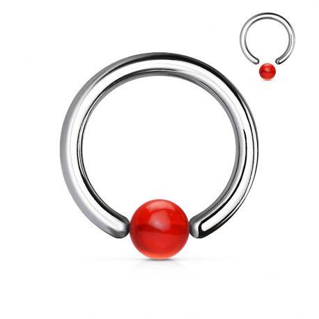 Piercing anneau boule acrylique rouge
