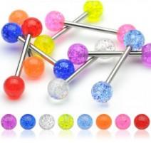 Piercing langue Acier Boules Acrylique Glitter