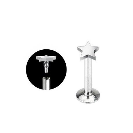 Piercing Labret Acier chirurgical Etoile - Bijou Piercing Labret