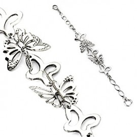 Bracelet en acier inoxydable Papillons 3D