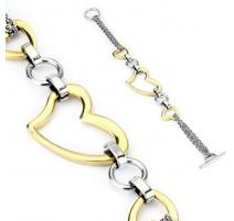 Bracelet en acier inoxydable 3 Cœurs Dorés